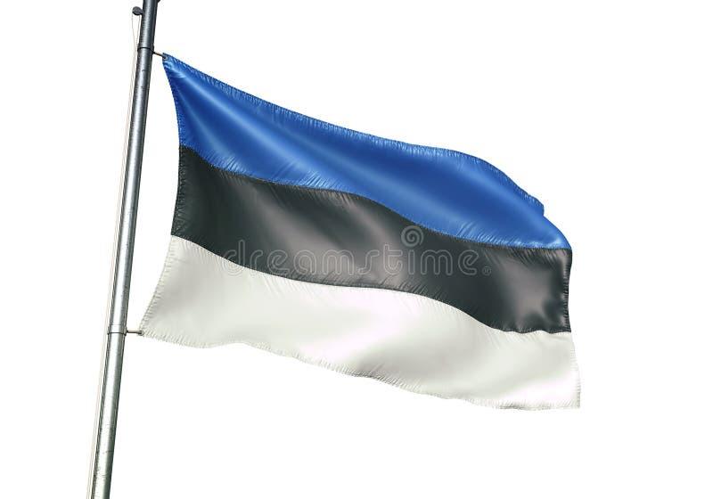Ondulation de drapeau national de l'Estonie d'isolement sur l'illustration 3d réaliste de fond blanc illustration stock