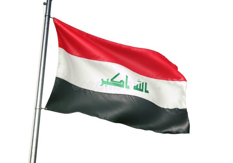 Ondulation de drapeau national de l'Irak d'isolement sur l'illustration 3d réaliste de fond blanc illustration stock