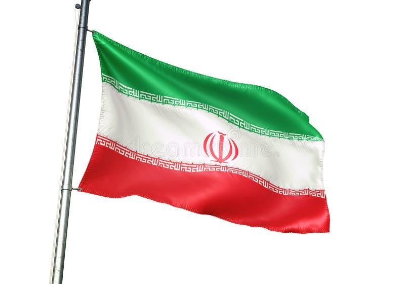 Ondulation de drapeau national de l'Iran d'isolement sur l'illustration 3d réaliste de fond blanc illustration libre de droits