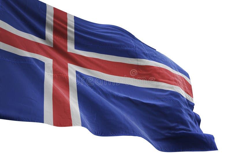 Ondulation de drapeau national de l'Islande d'isolement sur l'illustration blanche du fond 3d illustration stock