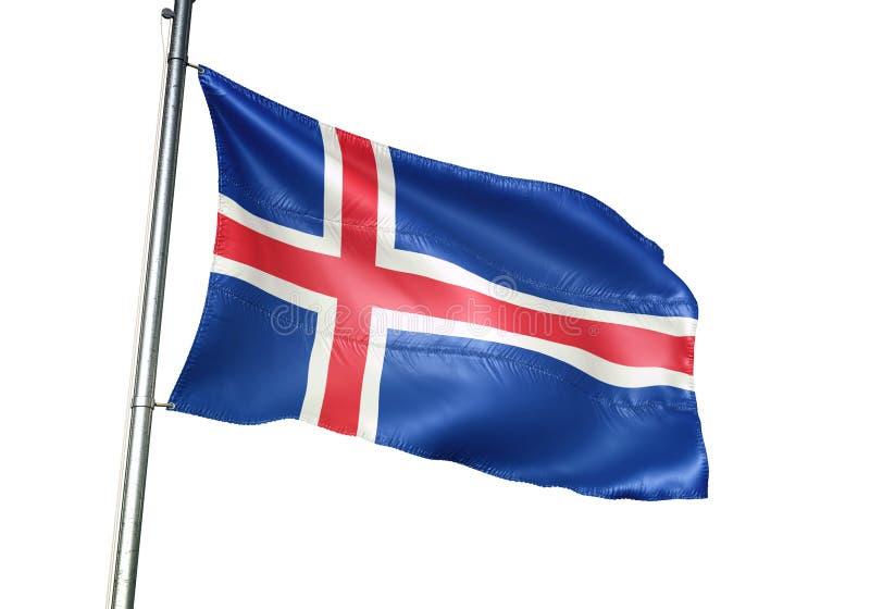 Ondulation de drapeau national de l'Islande d'isolement sur l'illustration 3d réaliste de fond blanc illustration libre de droits