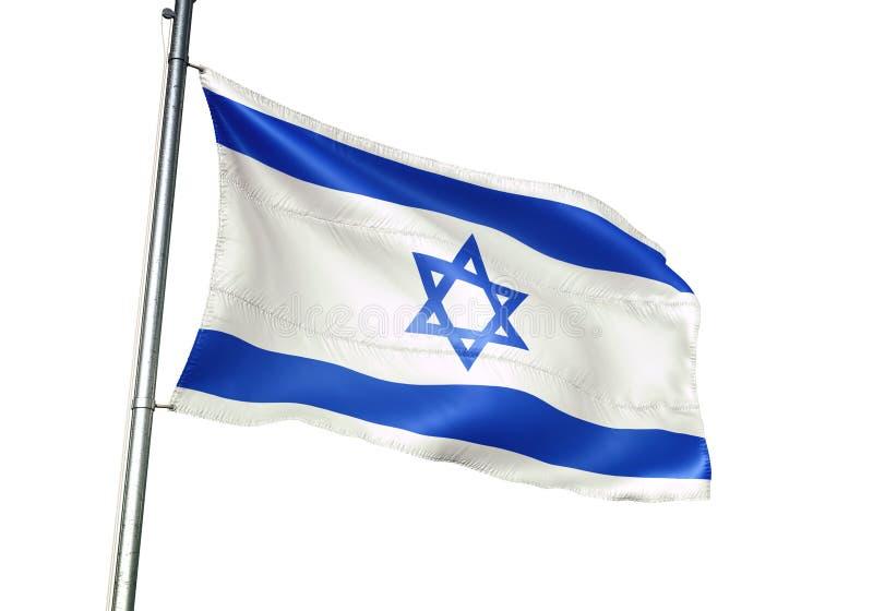 Ondulation de drapeau national de l'Israël d'isolement sur l'illustration 3d réaliste de fond blanc illustration libre de droits