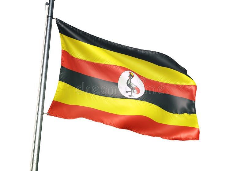 Ondulation de drapeau national de l'Ouganda d'isolement sur l'illustration 3d réaliste de fond blanc illustration stock