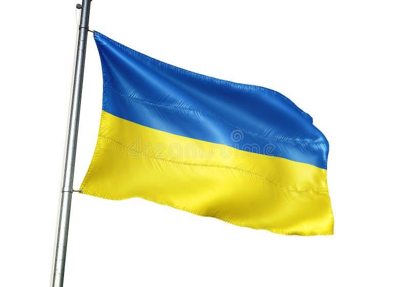 Ondulation de drapeau national de l'Ukraine d'isolement sur l'illustration 3d réaliste de fond blanc illustration de vecteur