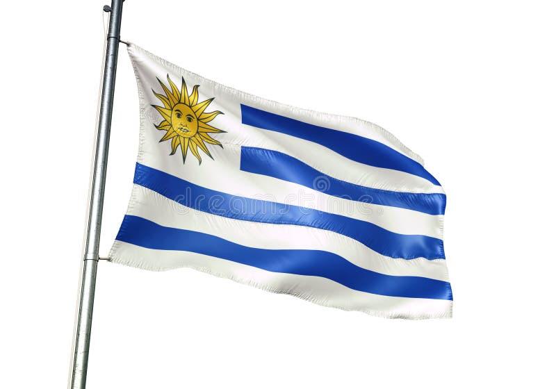 Ondulation de drapeau national de l'Uruguay d'isolement sur l'illustration 3d réaliste de fond blanc illustration de vecteur