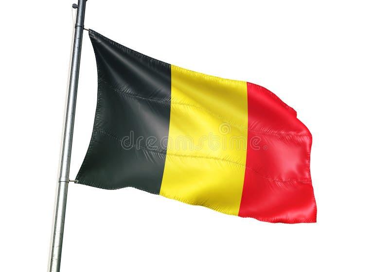 Ondulation de drapeau national de la Belgique d'isolement sur l'illustration 3d réaliste de fond blanc illustration de vecteur