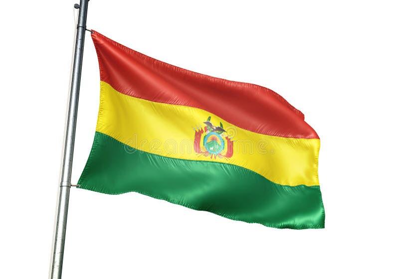 Ondulation de drapeau national de la Bolivie d'isolement sur l'illustration 3d réaliste de fond blanc illustration de vecteur