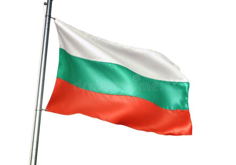 Ondulation de drapeau national de la Bulgarie d'isolement sur l'illustration 3d réaliste de fond blanc illustration stock