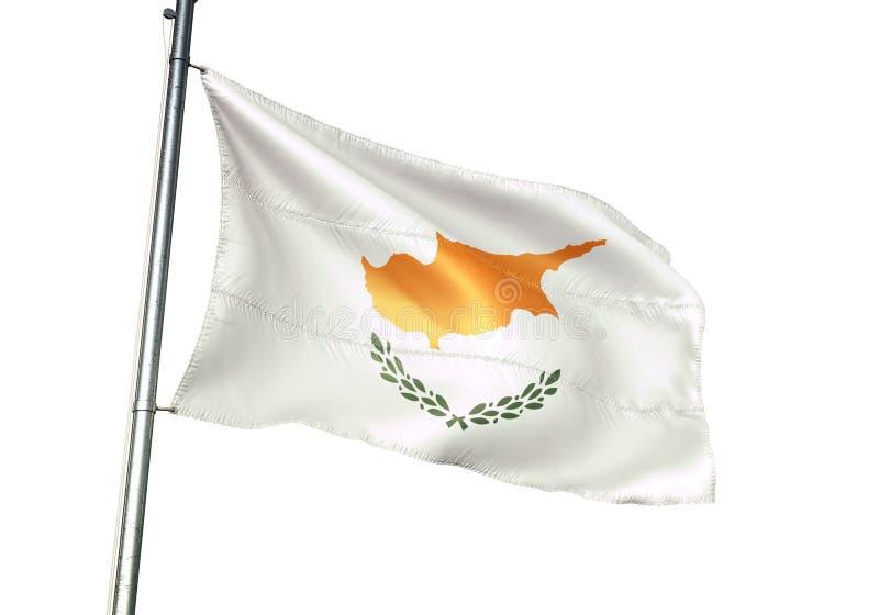 Ondulation de drapeau national de la Chypre d'isolement sur l'illustration 3d réaliste de fond blanc illustration stock