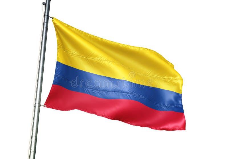 Ondulation de drapeau national de la Colombie d'isolement sur l'illustration 3d réaliste de fond blanc illustration de vecteur