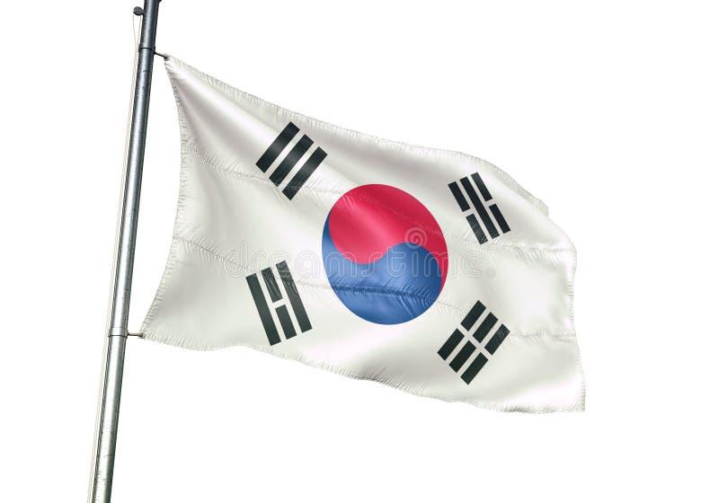 Ondulation de drapeau national de la Corée du Sud d'isolement sur l'illustration 3d réaliste de fond blanc illustration stock