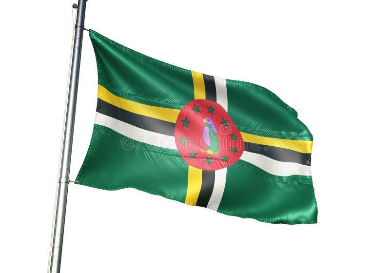 Ondulation de drapeau national de la Dominique d'isolement sur l'illustration 3d réaliste de fond blanc illustration stock