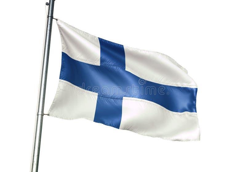 Ondulation de drapeau national de la Finlande d'isolement sur l'illustration 3d réaliste de fond blanc illustration de vecteur