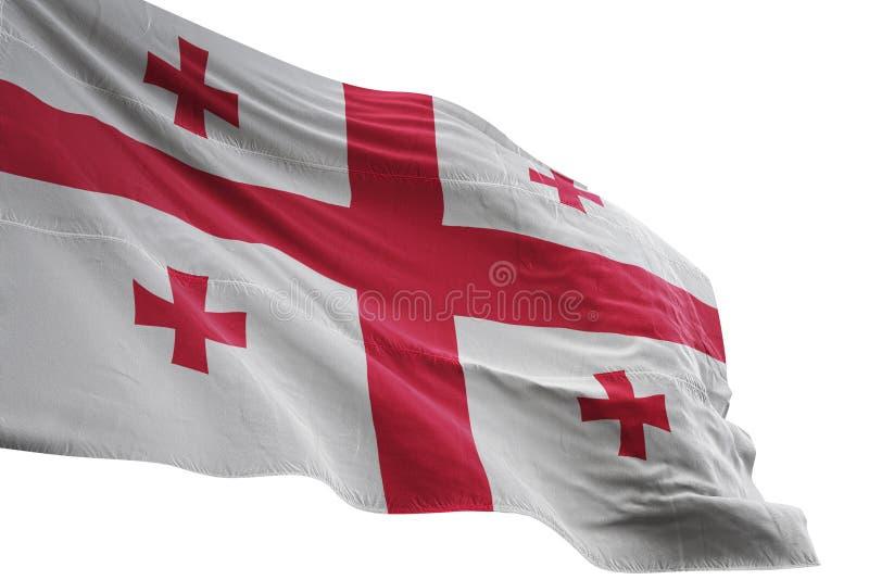 Ondulation de drapeau national de la Géorgie d'isolement sur l'illustration blanche du fond 3d illustration libre de droits