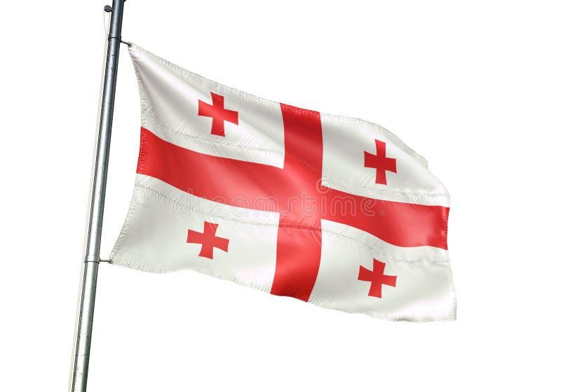 Ondulation de drapeau national de la Géorgie d'isolement sur l'illustration 3d réaliste de fond blanc illustration stock
