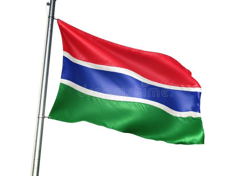 Ondulation de drapeau national de la Gambie d'isolement sur l'illustration 3d réaliste de fond blanc illustration stock