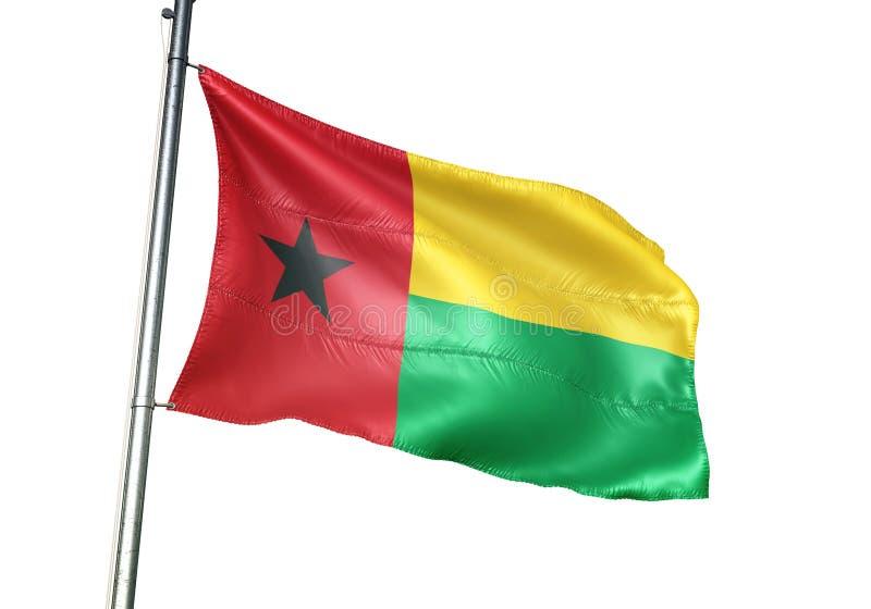 Ondulation de drapeau national de la Guinée-Bissau d'isolement sur l'illustration 3d réaliste de fond blanc illustration stock