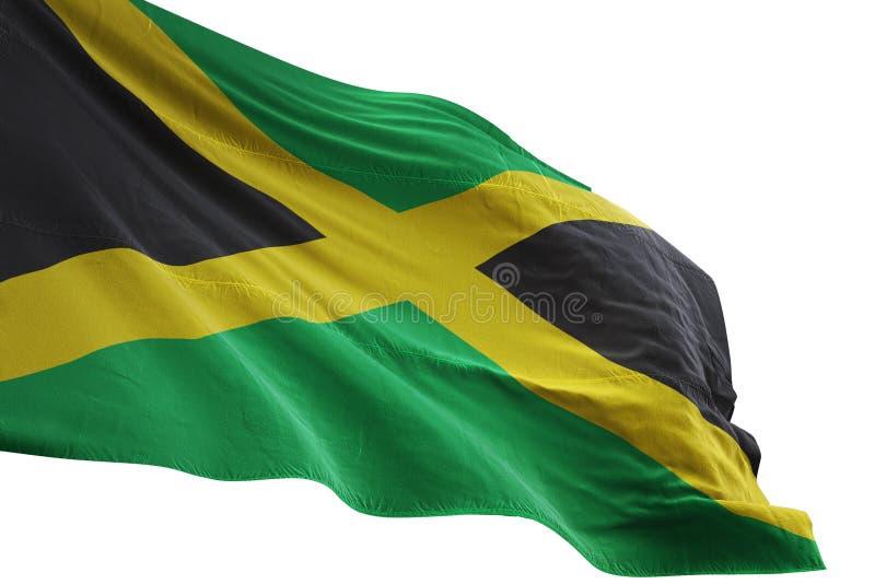 Ondulation de drapeau national de la Jamaïque d'isolement sur l'illustration blanche du fond 3d illustration de vecteur