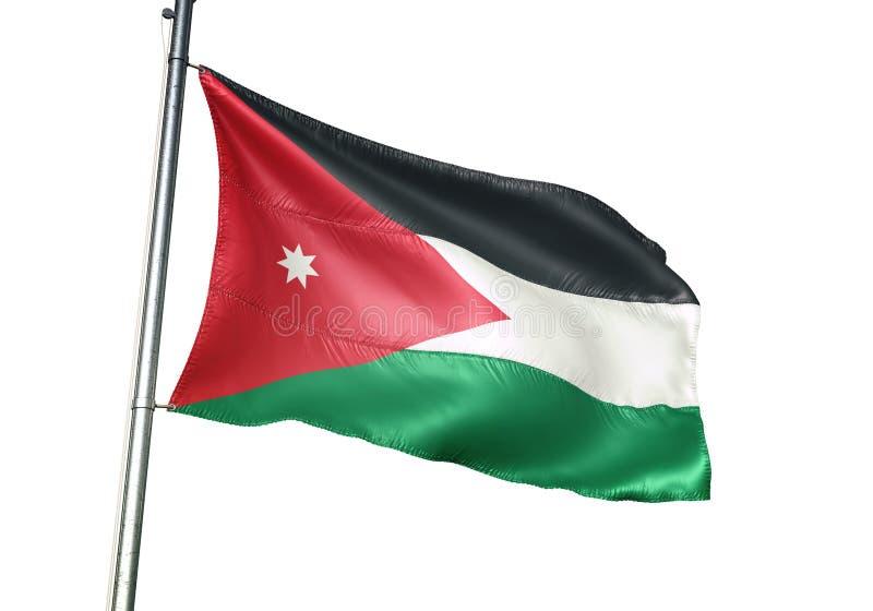 Ondulation de drapeau national de la Jordanie d'isolement sur l'illustration 3d réaliste de fond blanc illustration de vecteur