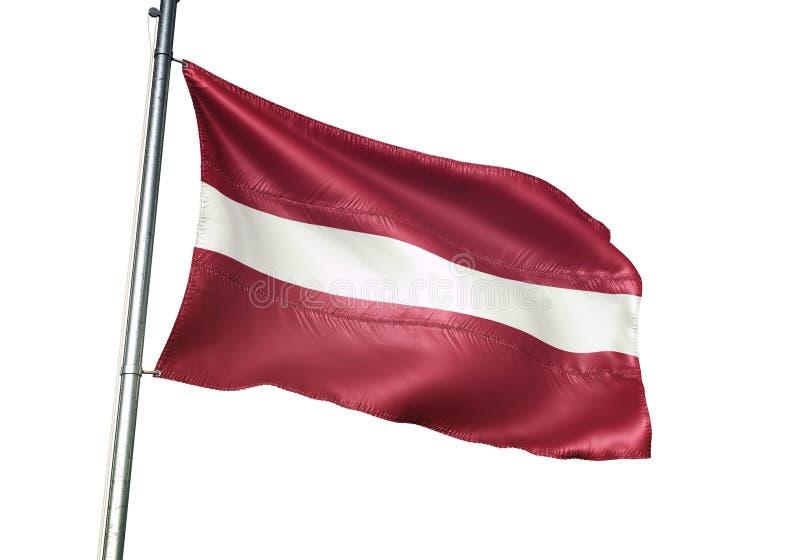 Ondulation de drapeau national de la Lettonie d'isolement sur l'illustration 3d réaliste de fond blanc illustration stock