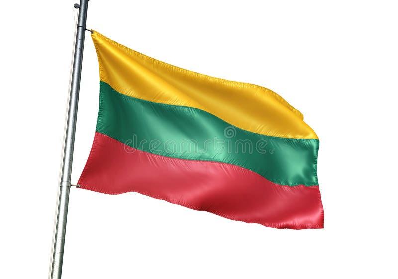 Ondulation de drapeau national de la Lithuanie d'isolement sur l'illustration 3d réaliste de fond blanc illustration stock