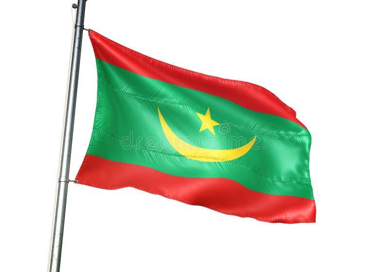 Ondulation de drapeau national de la Mauritanie d'isolement sur l'illustration 3d réaliste de fond blanc illustration stock