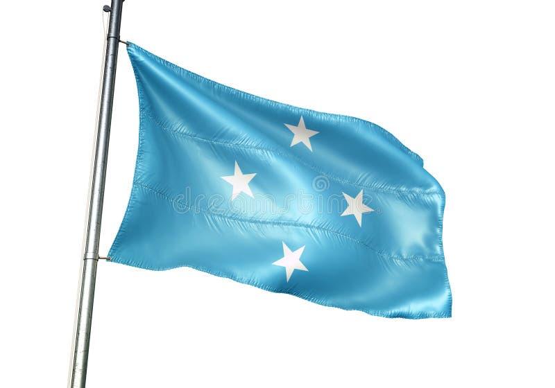 Ondulation de drapeau national de la Micronésie d'isolement sur l'illustration 3d réaliste de fond blanc illustration stock