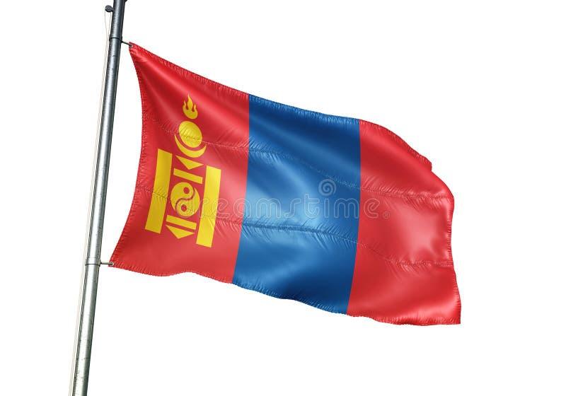 Ondulation de drapeau national de la Mongolie d'isolement sur l'illustration 3d réaliste de fond blanc illustration de vecteur