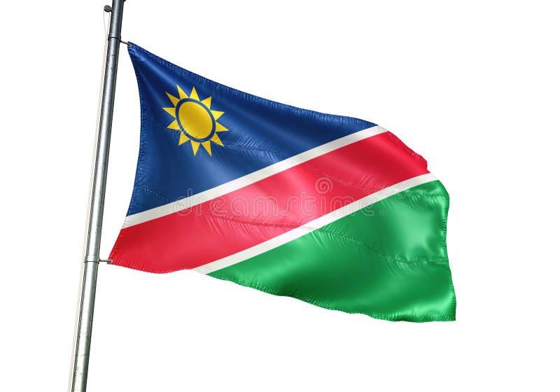 Ondulation de drapeau national de la Namibie d'isolement sur l'illustration 3d réaliste de fond blanc illustration stock