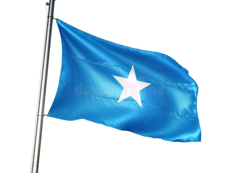 Ondulation de drapeau national de la Somalie d'isolement sur l'illustration 3d réaliste de fond blanc illustration de vecteur