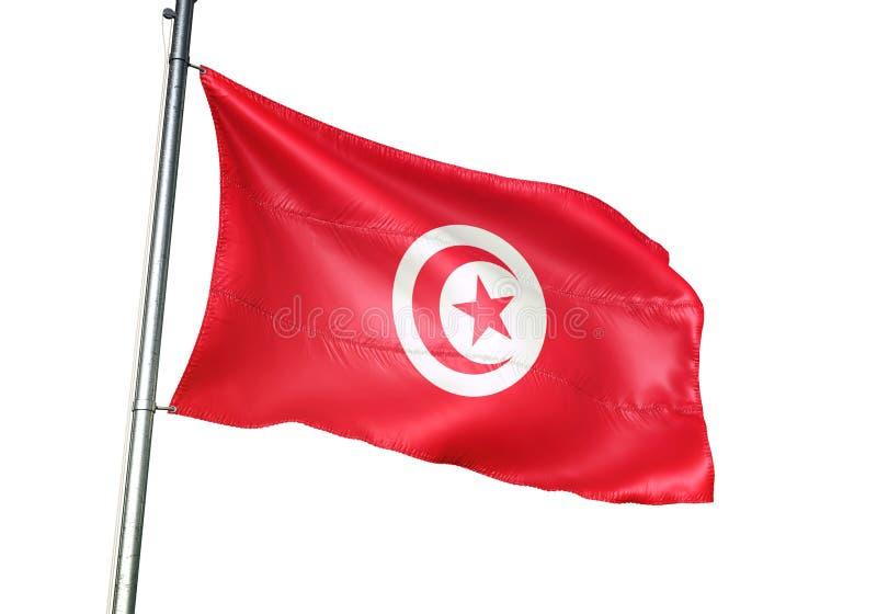 Ondulation de drapeau national de la Tunisie d'isolement sur l'illustration 3d réaliste de fond blanc illustration stock