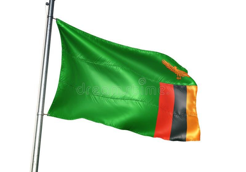 Ondulation de drapeau national de la Zambie d'isolement sur l'illustration 3d réaliste de fond blanc illustration libre de droits