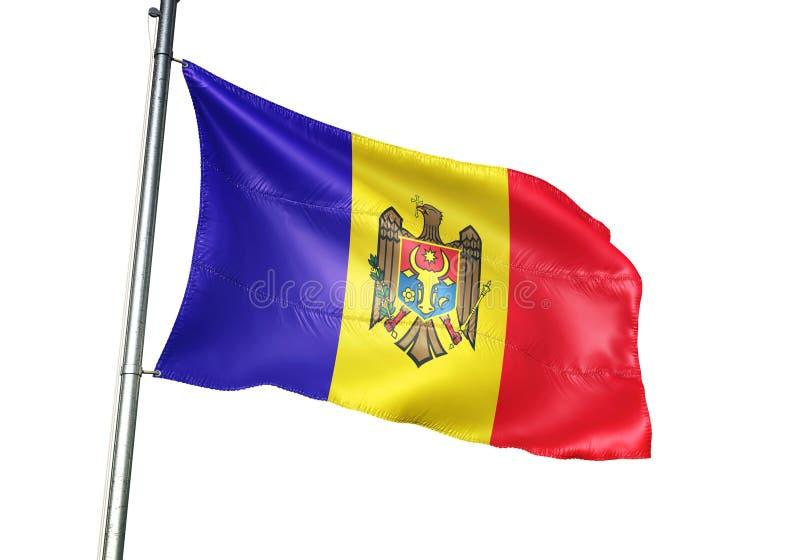 Ondulation de drapeau national de Moldau d'isolement sur l'illustration 3d réaliste de fond blanc illustration libre de droits