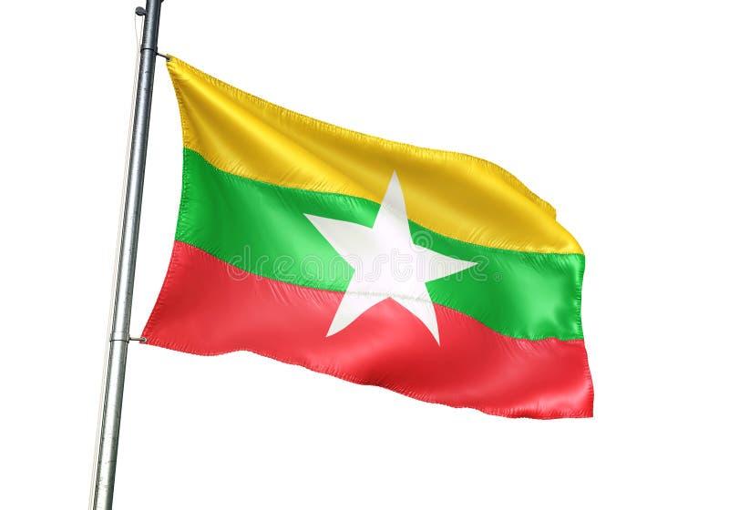 Ondulation de drapeau national de Myanmar d'isolement sur l'illustration 3d réaliste de fond blanc illustration stock