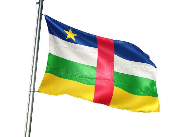 Ondulation de drapeau national de République Centrafricaine d'isolement sur l'illustration 3d réaliste de fond blanc illustration libre de droits