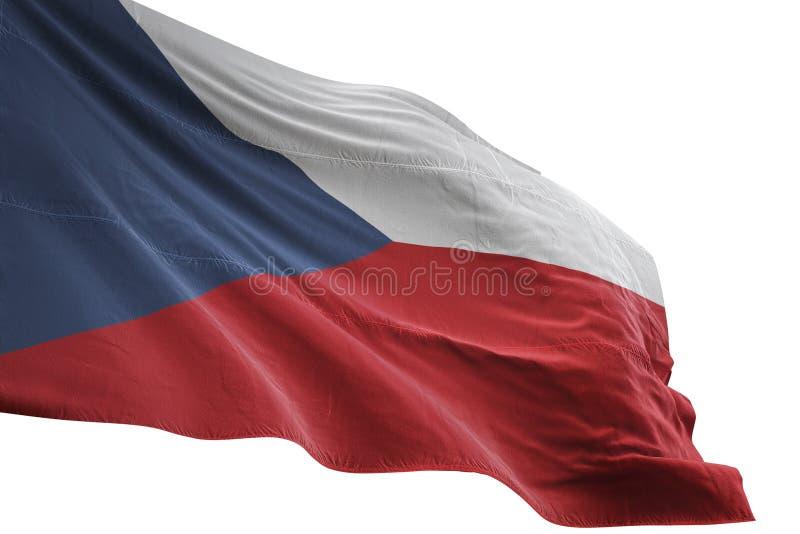Ondulation de drapeau national de République Tchèque d'isolement sur l'illustration blanche du fond 3d illustration libre de droits