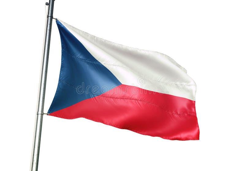 Ondulation de drapeau national de République Tchèque d'isolement sur l'illustration 3d réaliste de fond blanc illustration stock