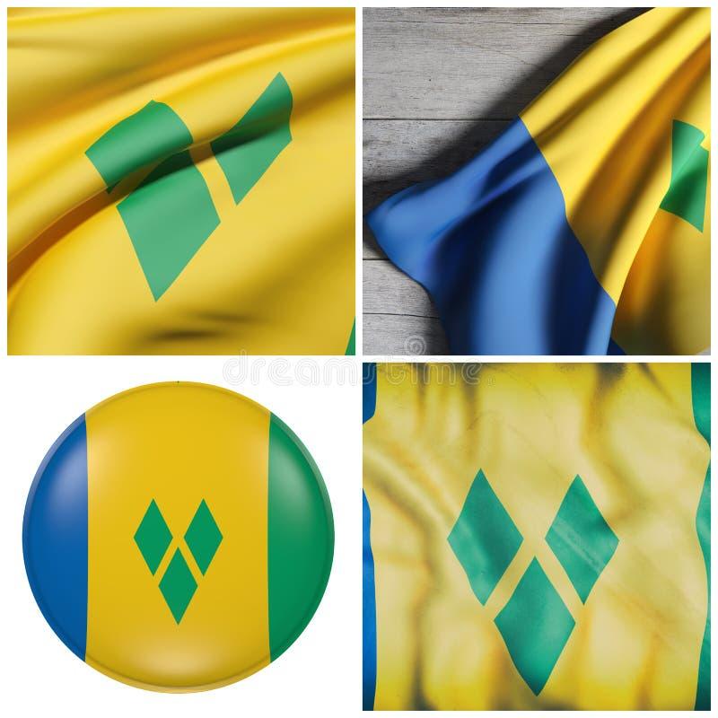 Ondulation de drapeau de Saint-Vincent-et-les-Grenadines illustration stock