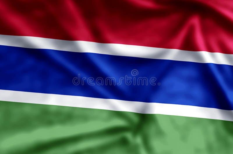 Ondulation de la Gambie et illustration colorées de drapeau de plan rapproché illustration stock