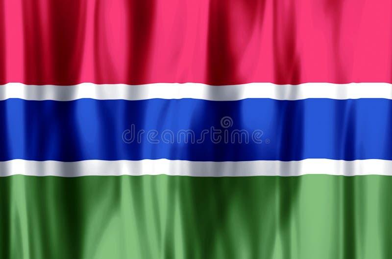 Ondulation de la Gambie et illustration colorées de drapeau de plan rapproché illustration libre de droits