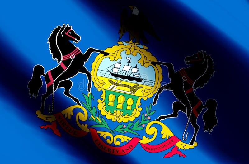 Ondulation de la Pennsylvanie et illustration colorées de drapeau de plan rapproché illustration de vecteur