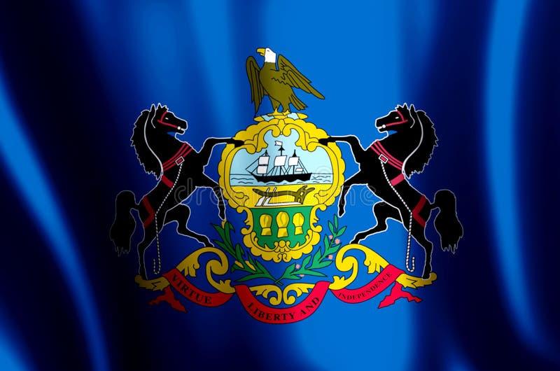 Ondulation de la Pennsylvanie et illustration colorées de drapeau de plan rapproché illustration libre de droits