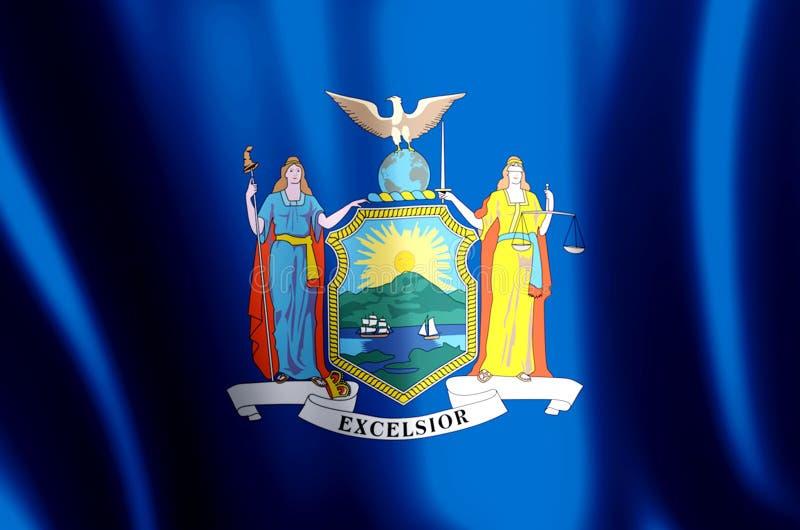 Ondulation de New York et illustration colorées de drapeau de plan rapproché illustration libre de droits