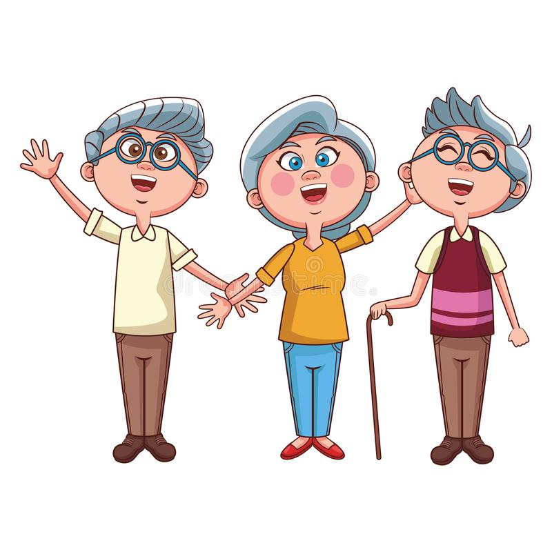 Ondulation de personnes d'aîné illustration de vecteur