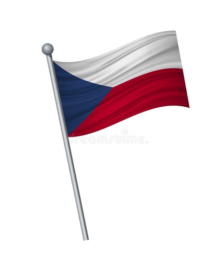 ondulation du drapeau sur le mât de drapeau, les couleurs officielles et la proportion correctement Isolat d'illustration de vect illustration de vecteur