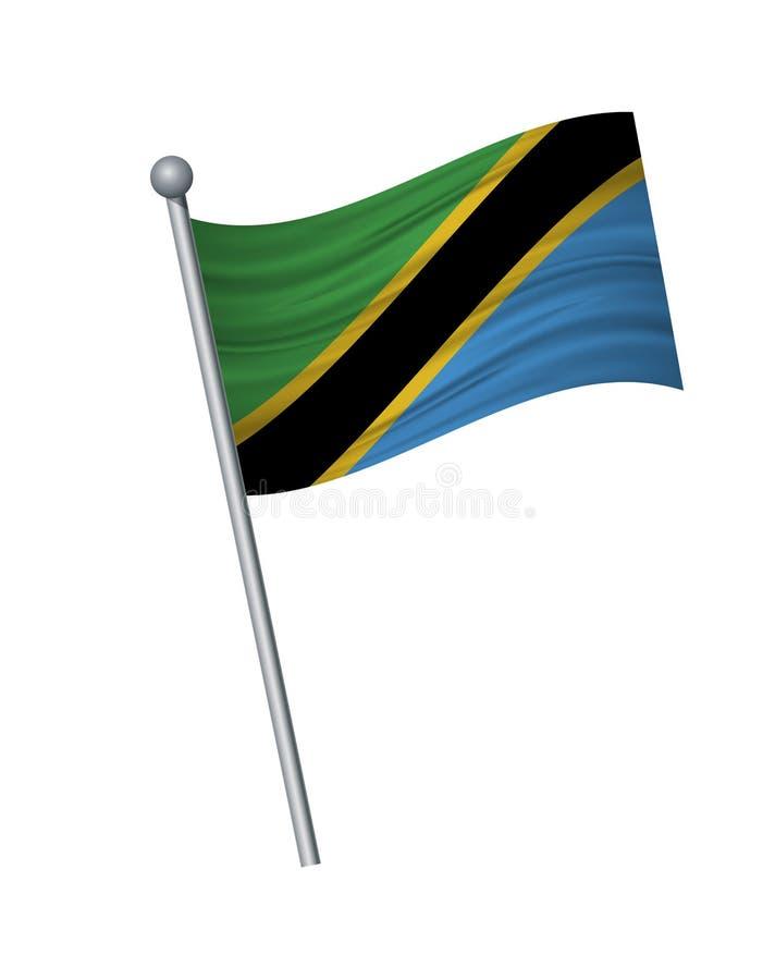 ondulation du drapeau sur le mât de drapeau, les couleurs officielles et la proportion correctement Isolat d'illustration de vect illustration stock