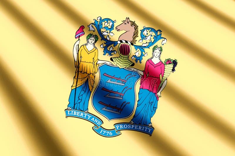 Ondulation du New Jersey et illustration colorées de drapeau de plan rapproché illustration de vecteur