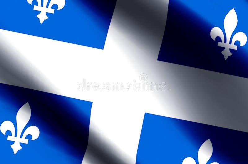 Ondulation du Québec et illustration colorées de drapeau de plan rapproché illustration stock