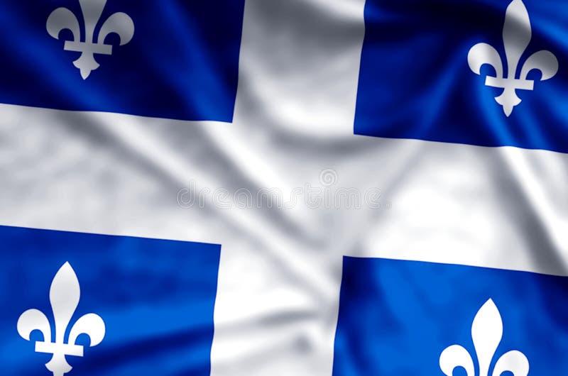 Ondulation du Québec et illustration colorées de drapeau de plan rapproché illustration de vecteur