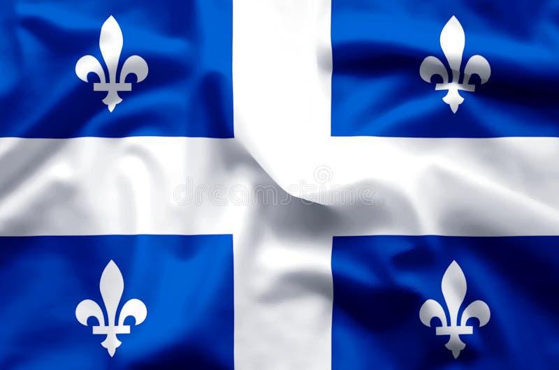 Ondulation du Québec et illustration colorées de drapeau de plan rapproché illustration libre de droits